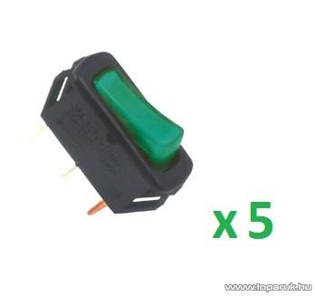 USE AK 04 Világítós billenőkapcsoló, 1 áramkör - 2 állás, 12 V, zöld, 5 db / csomag