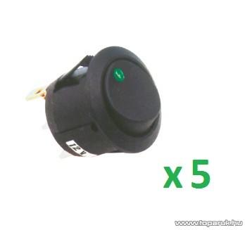USE AK 12 Világítós billenőkapcsoló, 1 áramkör - 2 állás, 12 V, zöld, 5 db / csomag