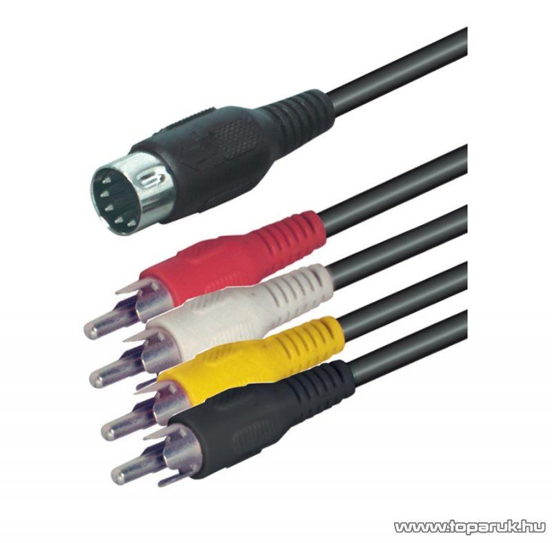 USE A 30 Audio RCA kábel 5 pólusú DIN dugó - 4 x RCA dugó, 1,5 m, 5 db / csomag