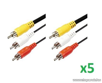 USE A 4 Audio RCA kábel 3 x RCA dugó - 3 x RCA dugó, 1 m, 5 pár / csomag