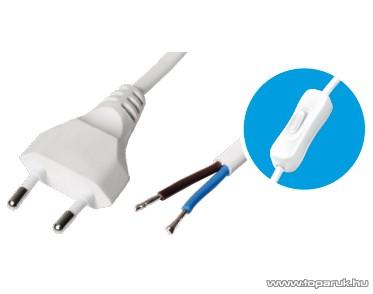 USE N 2K-2/WH Szerelhető hálózati csatlakozókábel egypólusú kapcsolóval, fehér, 2 m