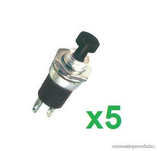 USE SP 01/BK Mini záró nyomógomb, 1 áramkör, 12 V, fekete, 5 db / csomag