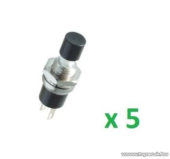 USE SP 02/BK Mini záró nyomógomb, 1 áramkör, 12 V, fekete, 5 db / csomag