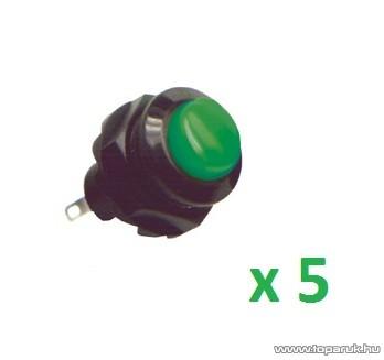 USE SP 12/GR Záró nyomógomb, 1 áramkör, záró - OFF - (ON), 250 V, zöld, 5 db / csomag