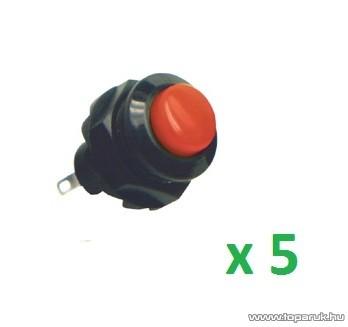 USE SP 12/RD Záró nyomógomb, 1 áramkör, záró - OFF - (ON), 250 V, piros, 5 db / csomag