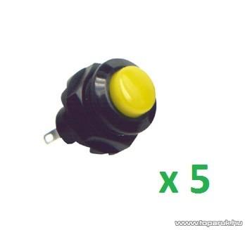 USE SP 12/YE Záró nyomógomb, 1 áramkör, záró - OFF - (ON), 250 V, sárga, 5 db / csomag