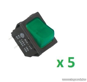 USE STV 02 Világítós billenőkapcsoló, 2 áramkör - 2 állás, 250 V, zöld, 5 db / csomag