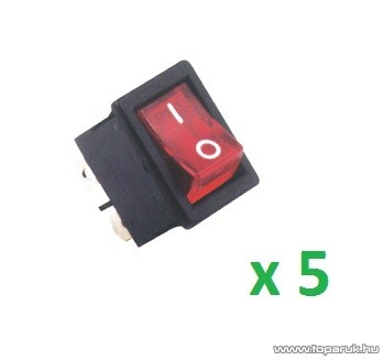 USE STV 05 Világítós billenőkapcsoló, 2 áramkör - 2 állás, 250 V, piros, 5 db / csomag