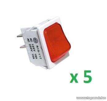 USE STV 101 Világítós billenőkapcsoló, 2 áramkör - 2 állás, 250 V, fehér-piros, 5 db / csomag