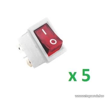 USE STV 105 Világítós billenőkapcsoló, 2 áramkör - 2 állás, 250 V, fehér-piros, 5 db / csomag