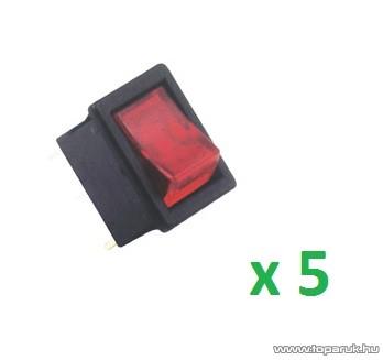 USE STV 15 Világítós billenőkapcsoló, 1 áramkör - 2 állás, 250 V, piros, 5 db / csomag