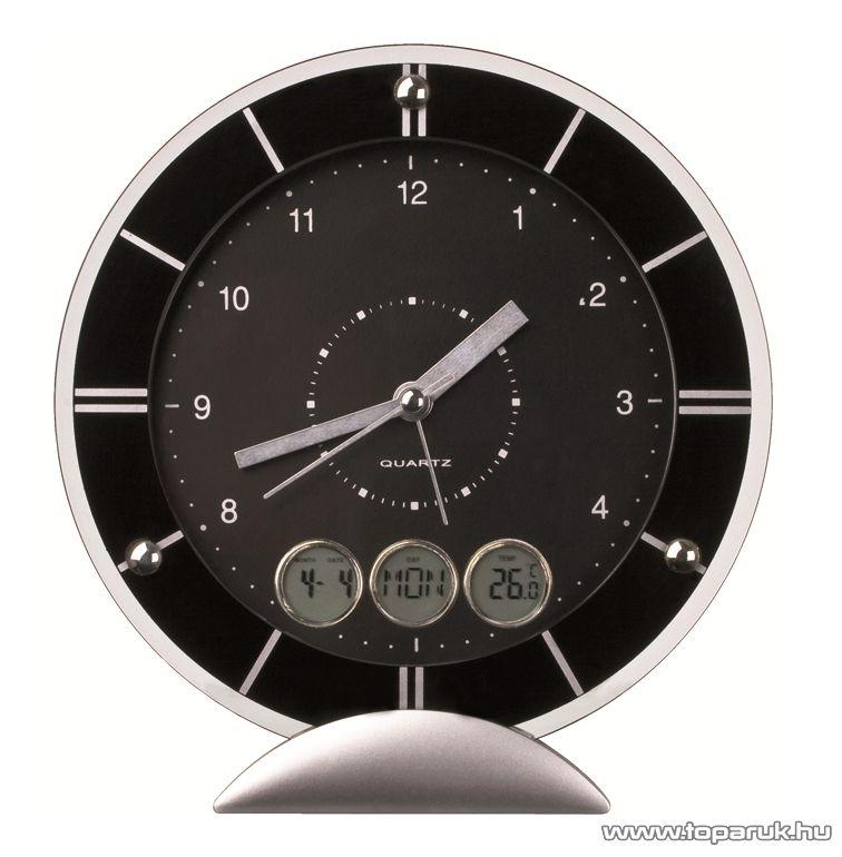 WELT 41258-03 Asztali óra, dátum, nap és hőmérséklet kijelzéssel, ébresztés funkcióval - megszűnt termék: 2015. január