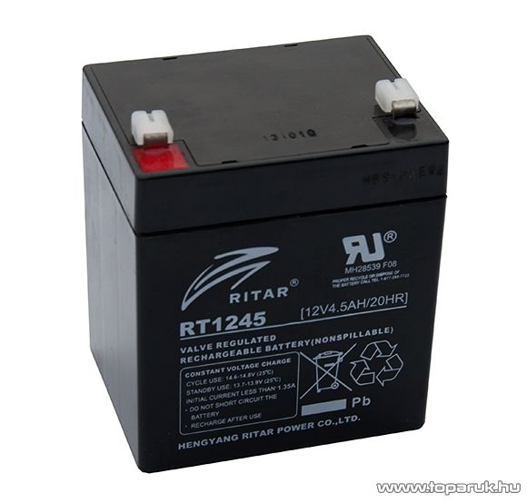 RITAR RT 1245E Zselés, ólom akkumulátor, gondozásmentes szünetmentes akku, 12V, 4,5Ah
