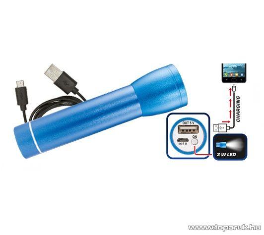 HOME PB 2600/BL Power bank hordozható, újratölthető, vésztöltő, univerzális külső akkumulátor + LED lámpa, 2600 mAh, kék