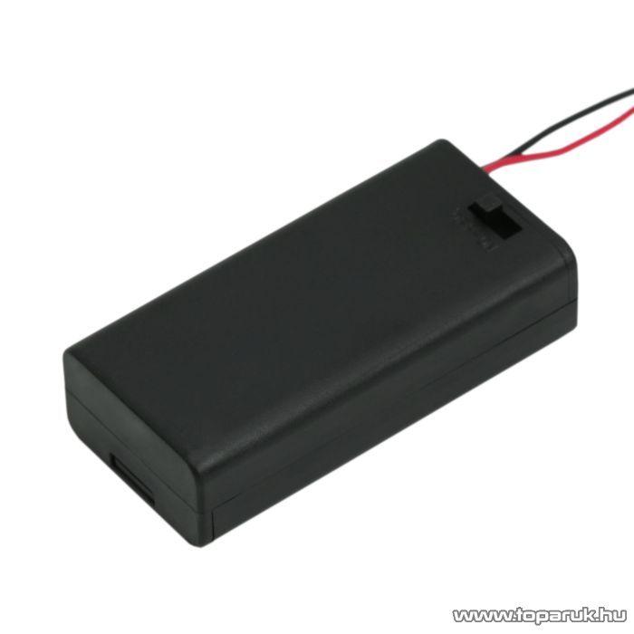 neXus Műanyag elemtartó, 2 db AA (ceruzaelemhez) kapcsolóval, fedőlappal, 5 db / csomag (05346)