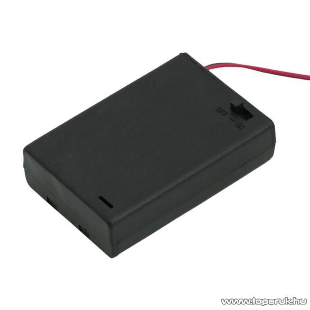 neXus Műanyag elemtartó, 3 db AA (ceruzaelemhez) kapcsolóval, fedőlappal, 10 db / csomag (05347)