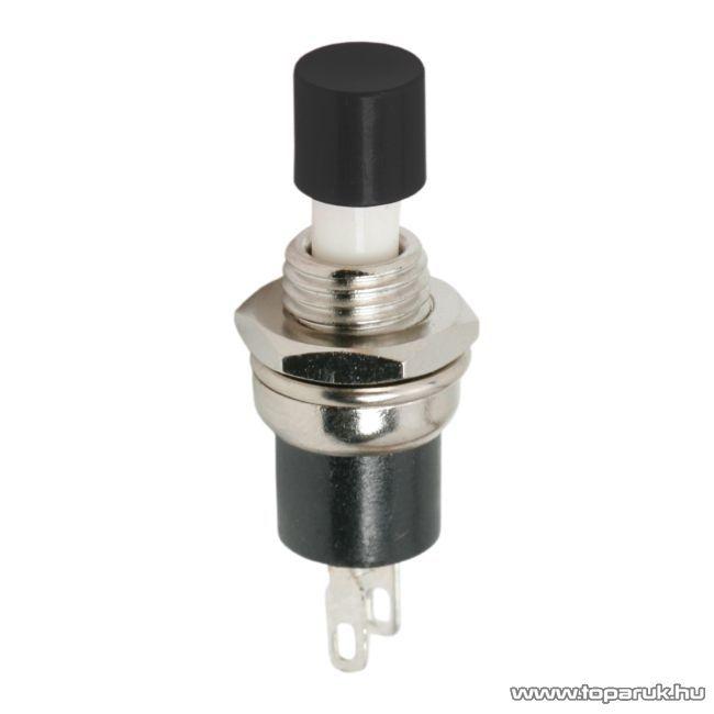 Nyomógomb, 1 áramkör, 1,5A-250V, OFF-(ON), fekete, 5 db / csomag (09005FK)