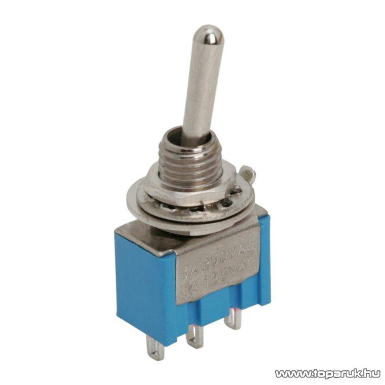 Karos kapcsoló, 1 áramkör, 3A-250V, ON-ON, 5 db / csomag (09010)