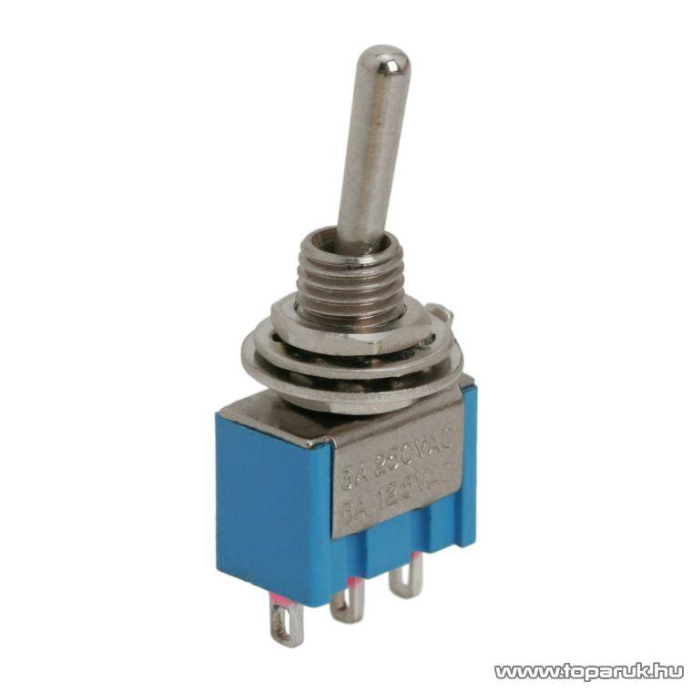 Karos kapcsoló, 1 áramkör, 3A-250V, ON-OFF-ON, 5 db / csomag (09018)