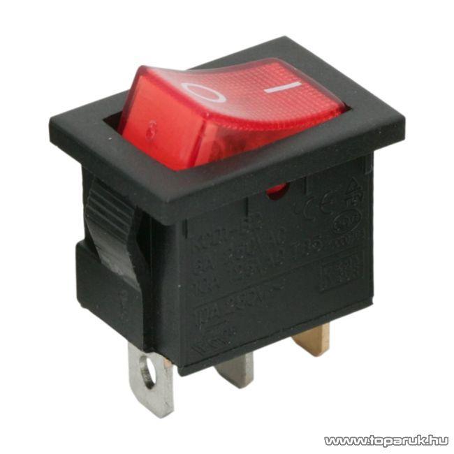 Billenő kapcsoló, 1 áramkör, 6A-250V, OFF-ON, piros világítással, 5 db / csomag (09019PI)