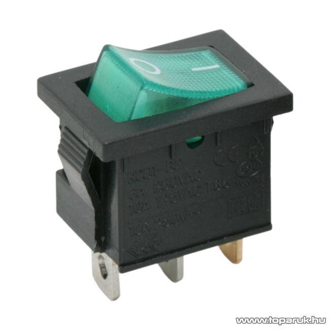 Billenő kapcsoló, 1 áramkör, 6A-250V, OFF-ON, zöld világítással, 5 db / csomag (09019ZO)