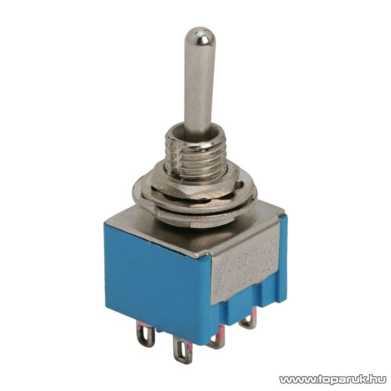 Karos kapcsoló, 2 áramkör, 3A-250V, ON-OFF-ON, 5 db / csomag (09028)