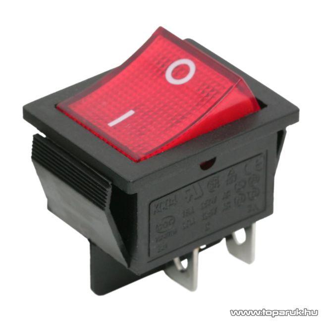 Billenő kapcsoló, 1 áramkör, 16A-250V, OFF-ON, piros világítással, 5 db / csomag (09029PI)