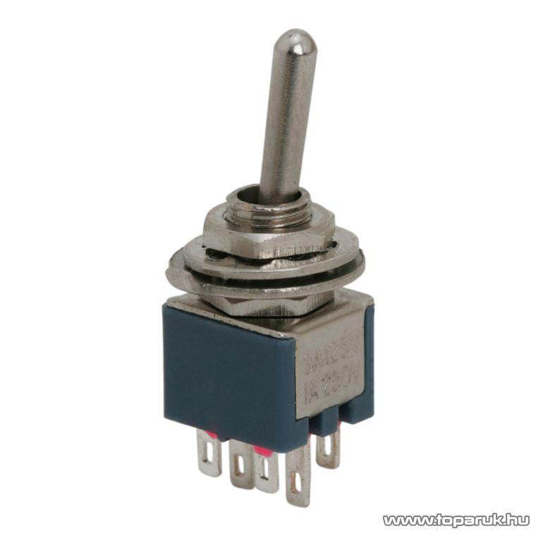 Karos kapcsoló, 2 áramkör, 1A-250V, ON-ON, 10 db / csomag (09031)