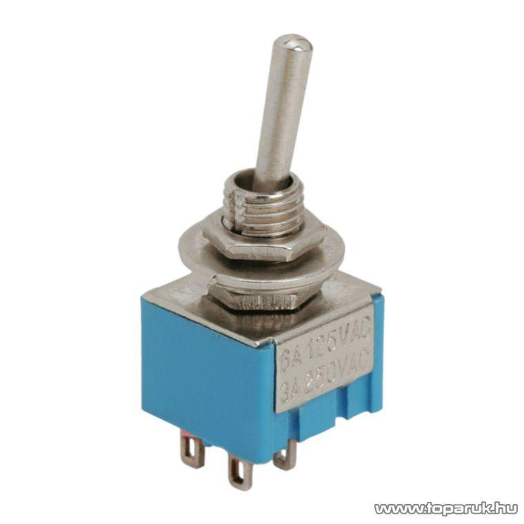 Karos kapcsoló, 2 áramkör, 3A-250V, ON-OFF, 5 db / csomag (09043)