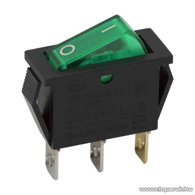 Billenő kapcsoló, 1 áramkör, 10A-250V, OFF-ON, zöld világítással, 5 db / csomag (09050ZO)
