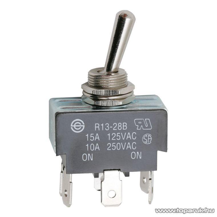 Karos kapcsoló, 2 áramkör, 10A-250V, ON-ON, 2 db / csomag (09057)