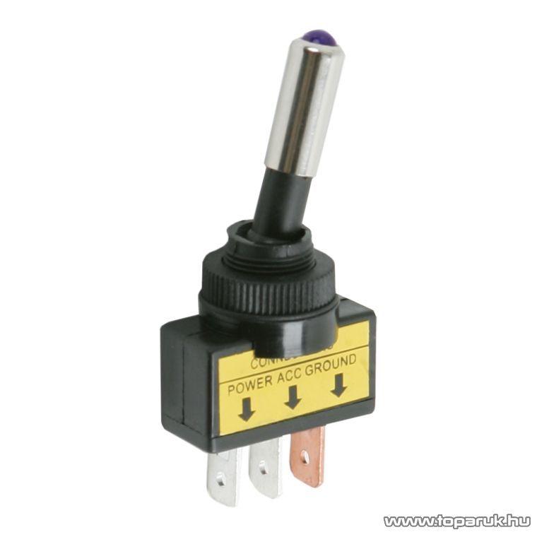 Karos kapcsoló, 1 áramkör, 20A-12VDC, OFF-ON, lila LED-el, 2 db / csomag (09058LI)
