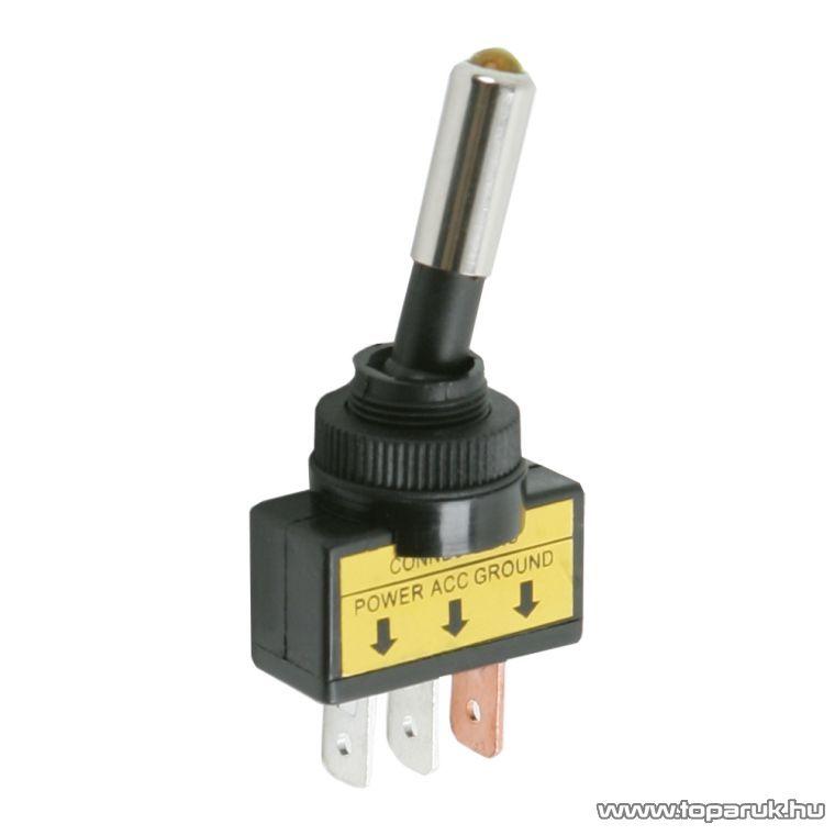 Karos kapcsoló, 1 áramkör, 20A-12VDC, OFF-ON, sárga LED-el, 2 db / csomag (09058SA)
