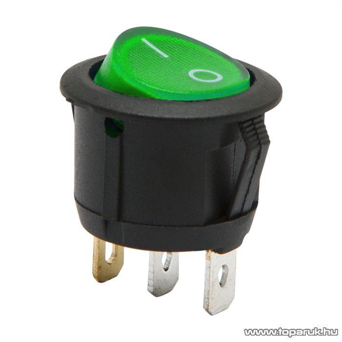 Billenő kapcsoló 1 áramkör 6A-250V ON-OFF zöld világítással, 5 db / csomag (09085GR)