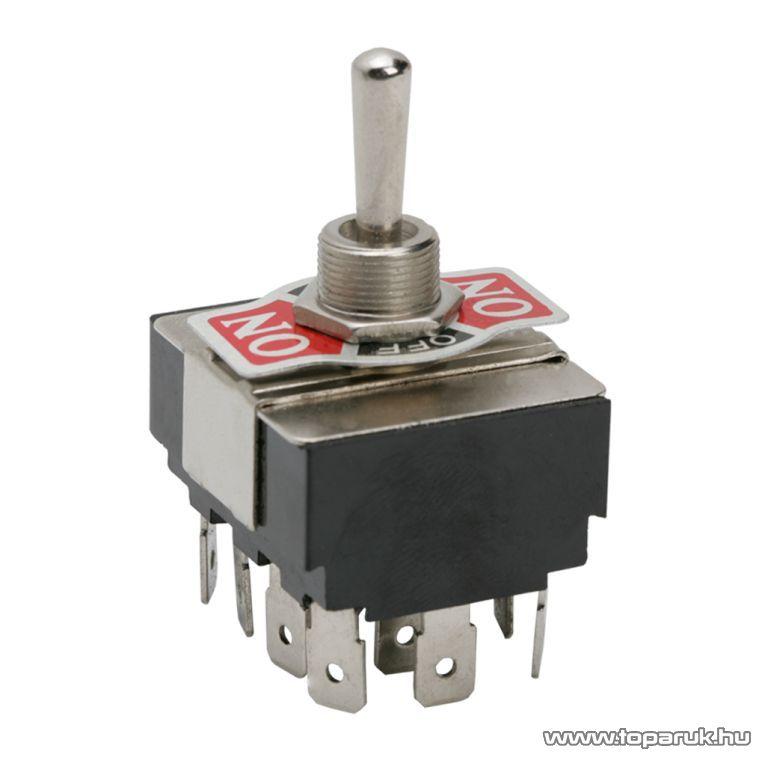 Karos kapcsoló, 4 áramkör, 10A-250V, ON-OFF-ON, előlappal, 2 db / csomag (09088) - megszűnt termék: 2016. július