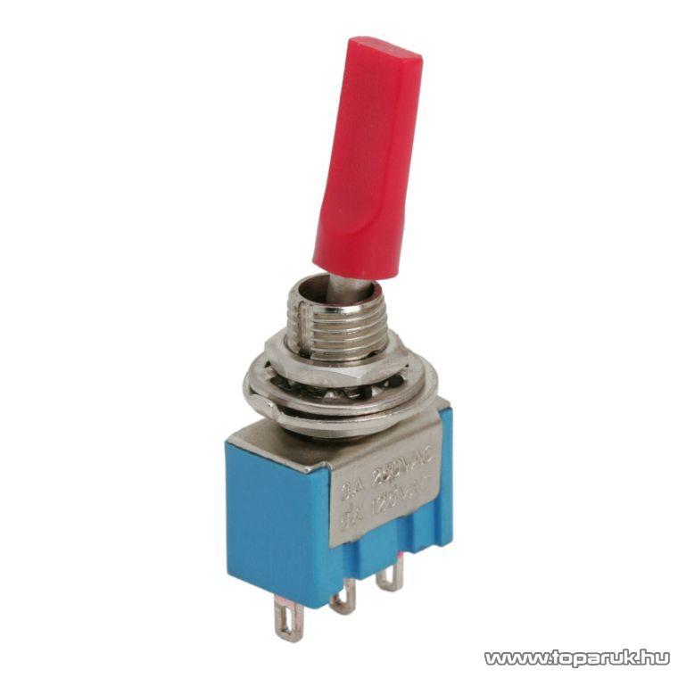 Karos kapcsoló, 1 áramkör, 3A-250V, ON-ON, szigetelt kapcsolókar, 10 db / csomag (09003)
