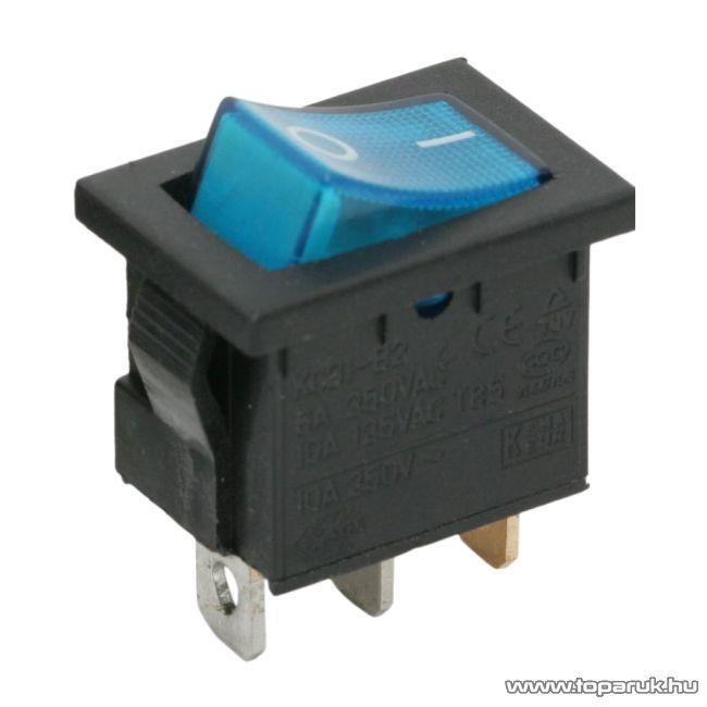 Billenő kapcsoló, 1 áramkör, 6A-250V, OFF-ON, kék világítással, 5 db / csomag (09019KE)