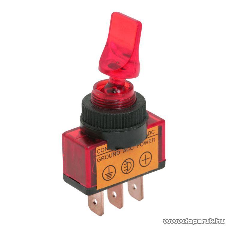 Karos kapcsoló, 1 áramkör, 10A-12VDC, OFF-ON, piros világítással, 5 db / csomag (09032) - készlethiány