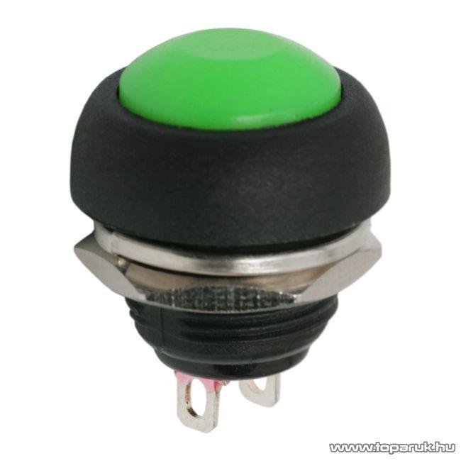 Nyomógomb, 1 áramkör, 1A-250V, OFF-(ON), zöld, 5 db / csomag (09044ZO)