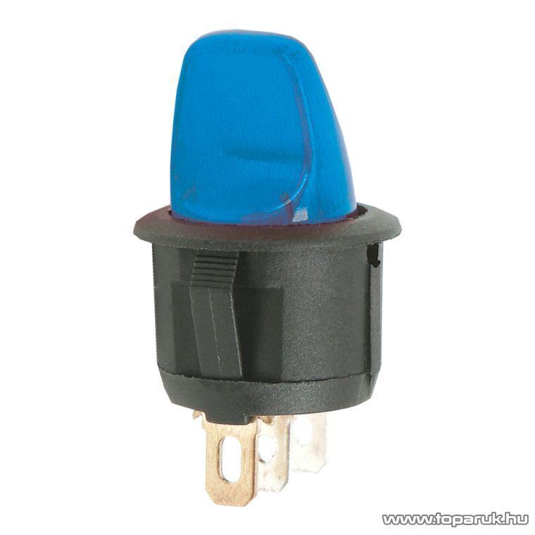 Karos kapcsoló, 1 áramkör, 6A-250V, OFF-ON, kék világítással, 5 db / csomag (09062KE)