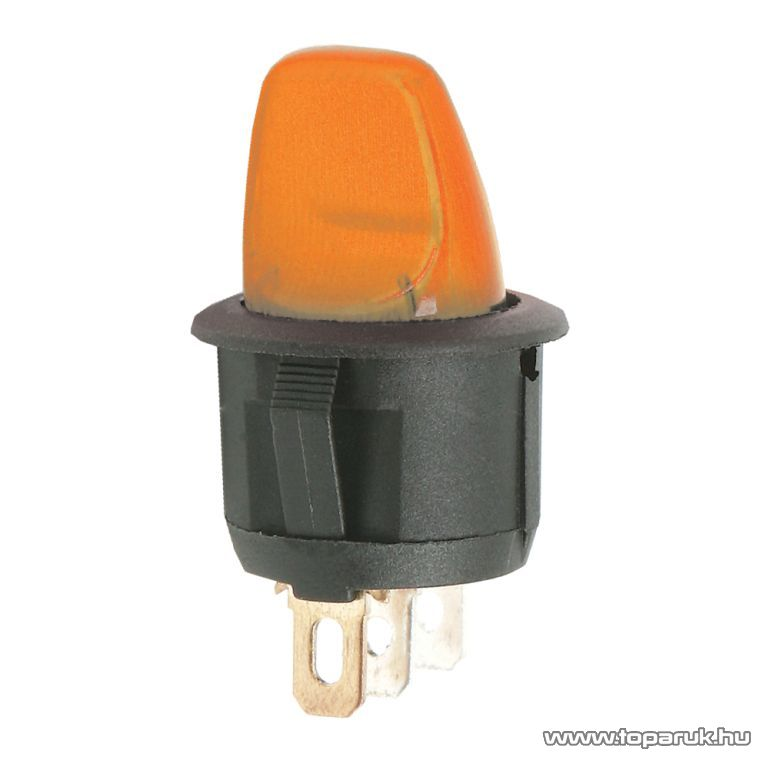 Karos kapcsoló, 1 áramkör, 6A-250V, OFF-ON, narancs világítással, 5 db / csomag (09062NA)