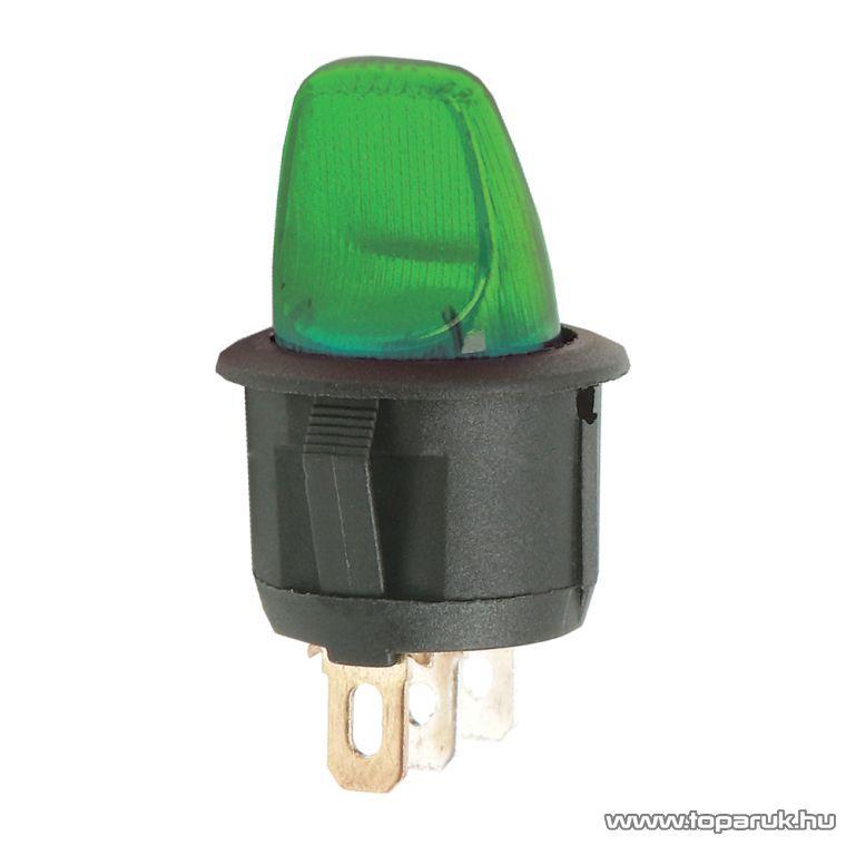 Karos kapcsoló, 1 áramkör, 6A-250V, OFF-ON, zöld világítással, 5 db / csomag (09062ZO)