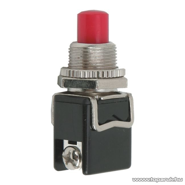 Nyomógomb, 1 áramkör, 4A-250V, OFF-(ON), piros, 5 db / csomag (09063PI)