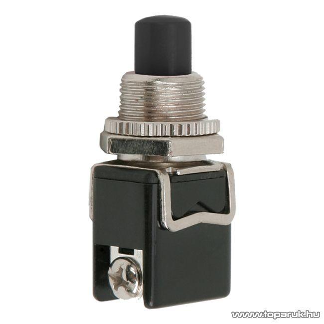 Nyomógomb, 1 áramkör, 4A-250V, ON-(OFF), fekete, 5 db / csomag (09064FK)