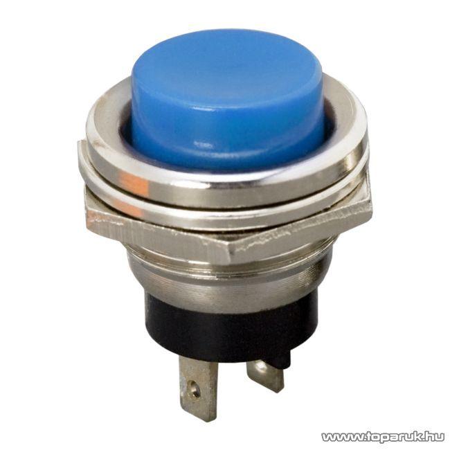 Nyomógomb, 1 áramkör, 2A-250V, OFF-(ON), kék, 5 db / csomag (09065KE)