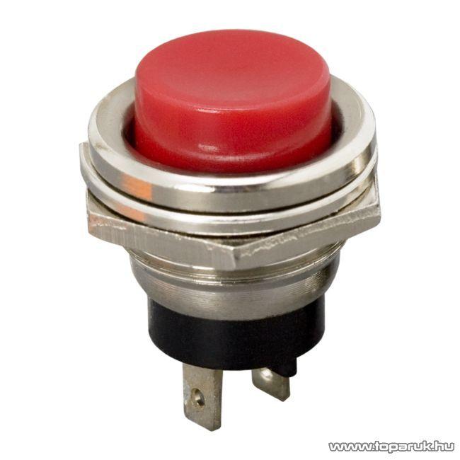 Nyomógomb, 1 áramkör, 2A-250V, OFF-(ON), piros, 5 db / csomag (09065PI)