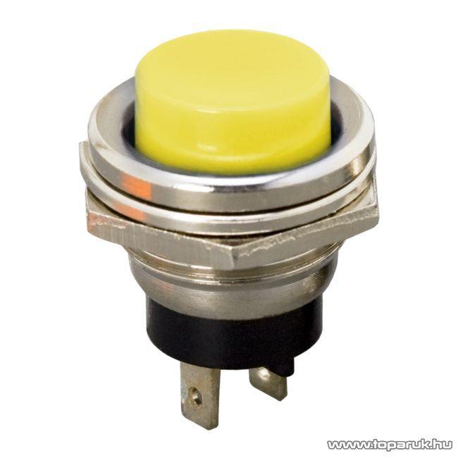 Nyomógomb, 1 áramkör, 2A-250V, OFF-(ON), sárga, 5 db / csomag (09065SA)