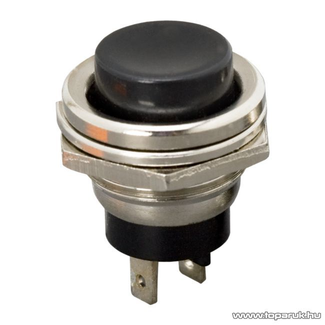 Nyomógomb, 1 áramkör, 2A-250V, ON-(OFF), fekete, 5 db / csomag (09066FK)