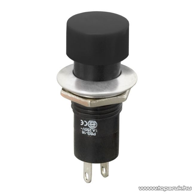 Nyomógomb, 1 áramkör, 1A-250V, ON-(OFF), fekete, 10 db / csomag (09076FK)