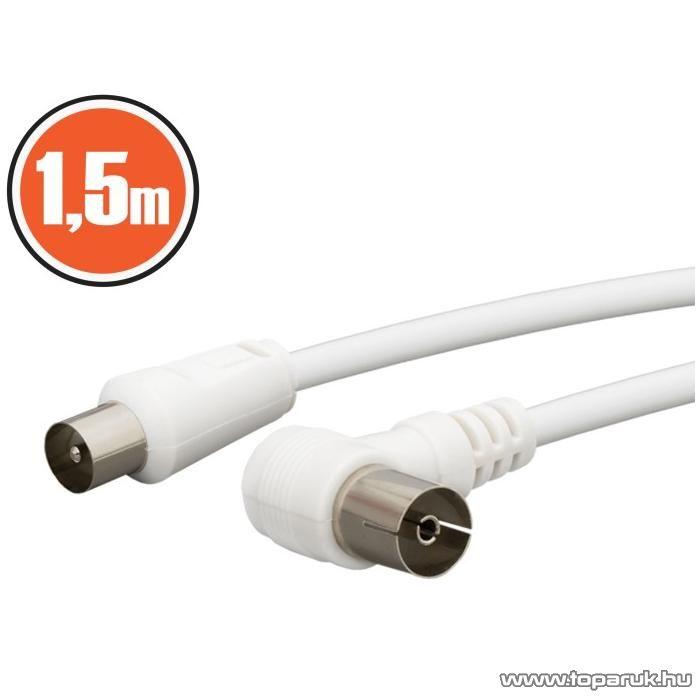 neXus KOAX kábel, dugó - aljzat 90 fok-os, 1,5 m, fehér (20370) - készlethiány